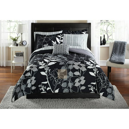 Mainstays Orkaisi Bed in a Bag Coordinated Bedding, Twin/Twin XL, Black
