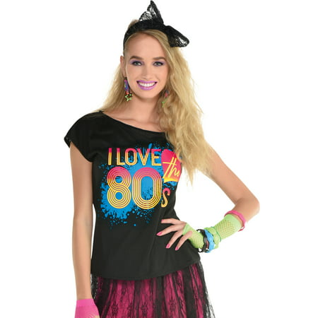 I Love The 80s Halloween Costumes (Amscan I Love the 80s T-Shirt for Women, Costume Accessory, Black with Colorful Print, Standard Size, With Scoop)