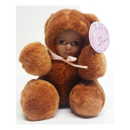 J. Misa Porcelain African American Baby Doll In Brown Bear Costume 6