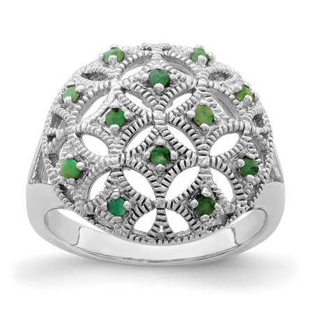Circle Green Ring - 925 Sterling Silver Green Emerald Circle Band Ring Size 8.00 Gifts For Women For Her
