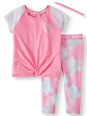 b22ab360 Product Image Twist Front Colorblock Top and Printed Performance Legging,  2-Piece Active Set Set (