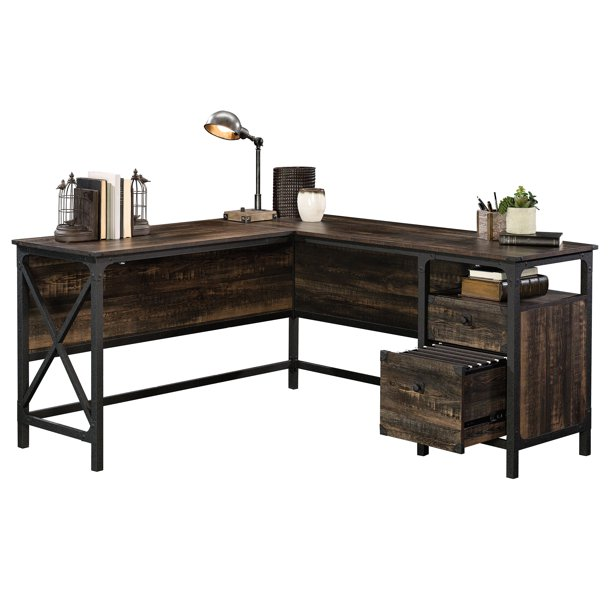 Sauder Steel River L-Shaped Desk, Carbon Oak Finish