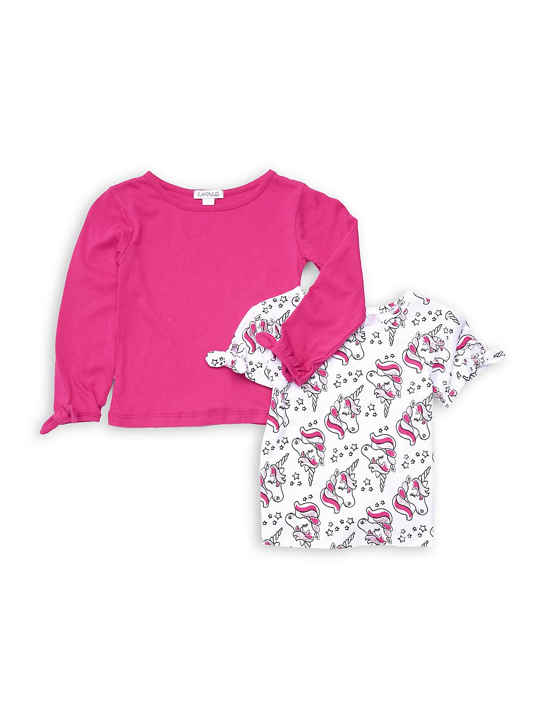 Little Girl's 2-Piece Long-Sleeve Top & Short-Sleeve Top Set