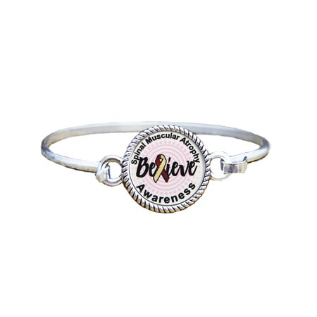 Spinal Muscular Atrophy Awareness Believe Silver Plated Bracelet Jewelry