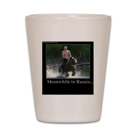 Cafepress   Vladimir Putin Riding A Bear   White Shot Glass  Unique And Funny Shot Glass