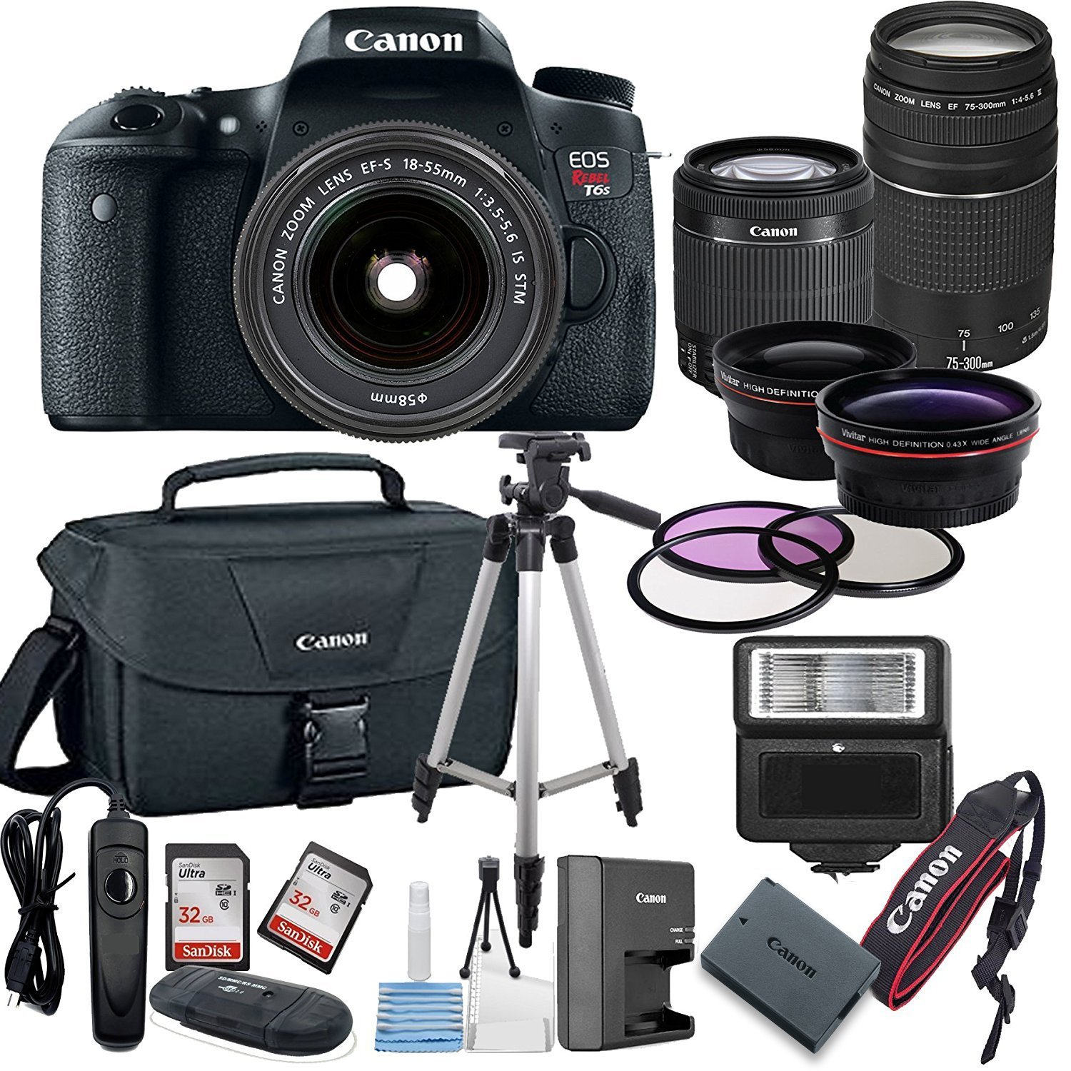Canon EOS Rebel T6S Digital SLR Camera w/ EF-S 18-55mm + 75-300mm Telephoto Zoom Lens  Bundle includes Camera, Lenses, Filters, Bag, Memory Cards, Tripod, Flash, Remote Shutter , Cleaning Kit, Replace