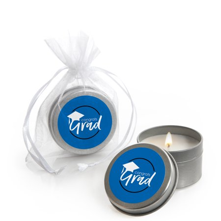 Blue Grad - Best is Yet to Come - Candle Tin Royal Blue Graduation Party Favors (Set of 12)