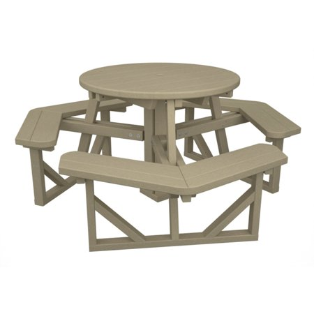 Polywood Park 36 In Round Recycled Plastic Picnic Table