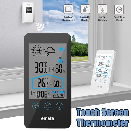 Thermometer Hygrometer Temperature Weather Station Clock with Sensor Transmitter For Indoor Outdoor