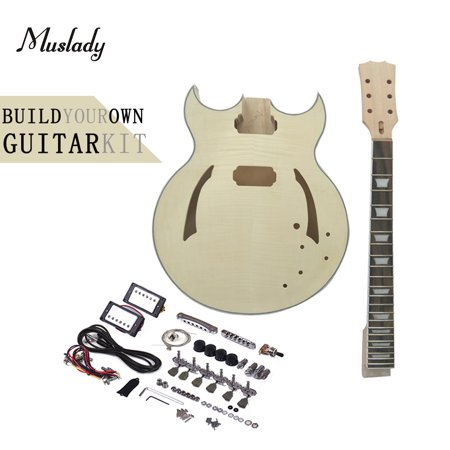 Muslady Unfinished DIY Electric Guitar Kit Semi Hollow Basswood Body Rosewood Fingerboard Maple Neck