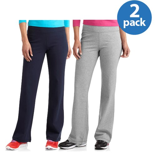 Danskin Now Women;s Dri-More Bootcut Pants available in Regular and Petite, 2-Pack Value Bundle