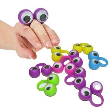 dazzling toys 24 Pack Eyes on Rings Party Favor Set | Eye Finger Puppets | Wiggly Eyes