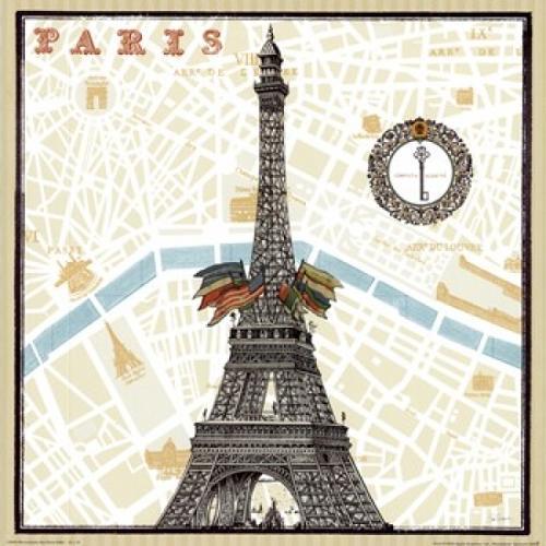 Monuments des Paris Eiffel Poster Print by Sue Schlabach (12 x 12)