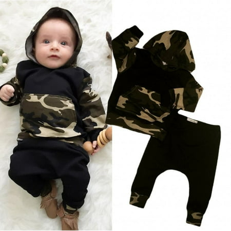 Camouflage Newborn Baby Boys Toddler Hooded Tops +Long Pants 2Pcs Outfits Set Clothes ()