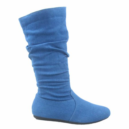 - Selina-23 Women's Causal Zipper Slouch Flat Heel Mid Calf Round Toe Boots Shoes