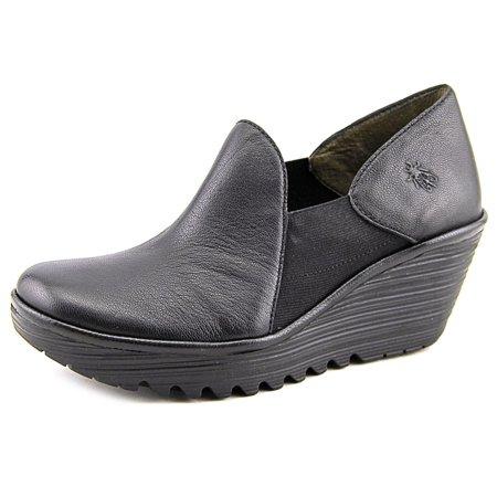 7e770249b6 FLY London - Fly London Yua Women Open Toe Leather Black Wedge Heel ...
