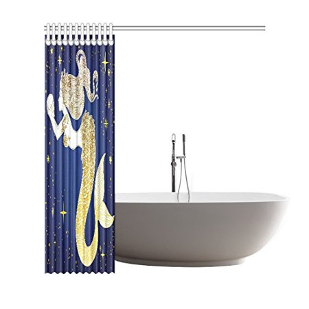 GCKG Beautiful Mermaid Shower Curtain, Huamn Skull Polyester Fabric Shower Curtain Bathroom Sets with Hooks 66x72 Inches - image 2 of 3