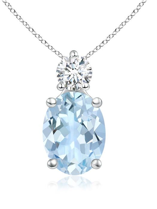 March Birthstone Pendant Necklaces Prong-Set Oval Aquamarine Solitaire Pendant with Diamond in 950 Platinum (8x6mm... by Angara.com