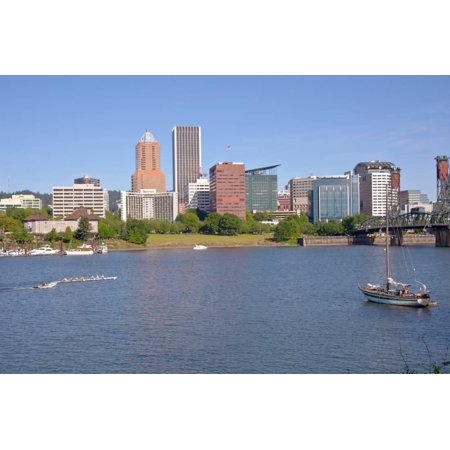 Portland skyline and rowing boats in morning light, Multnomah County, Oregon, USA Print Wall Art](Halloween Stores In Portland Oregon)