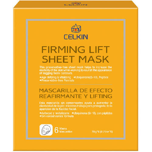 Celkin Firming Lift Sheet Mask, 6 count Stratus Luminous Instant Skin Perfector - 902, 100% Natural By Vapour Organic Beauty