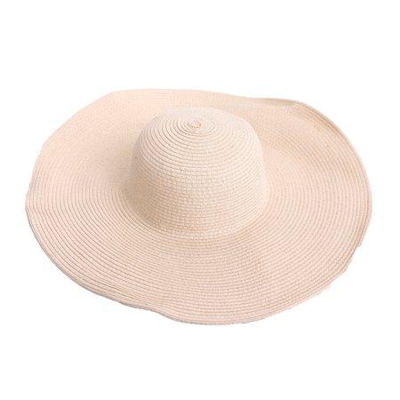 2c0abd9a7ead9 HDE - HDE Women s Floppy Packable Wide Brim Sun Shade Derby Beach Straw Hat  (Beige) - Walmart.com