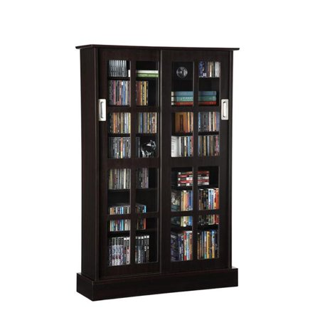 Atlantic 94835721 Windowpane 576 CD/ 192 DVD Blu-Ray Games Wood Cabinet With Sliding Glass Doors In Espresso Dual Pane Glass Door