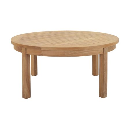 Hawthorne Collections Outdoor Teak Round Coffee Table in ...