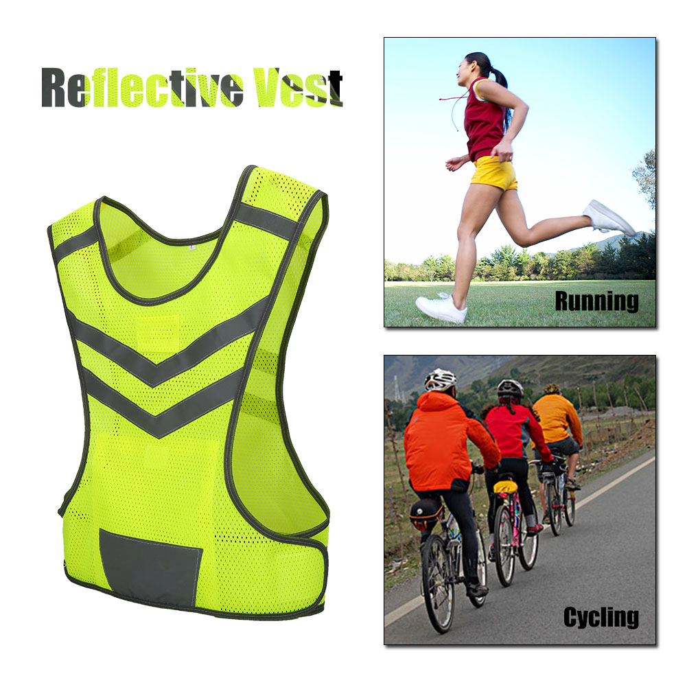 Dilwe High Visibility Adjustable Reflective Safety Vest for Outdoor Sports Cycling Running Hiking, Reflective Vest, Reflective Safety Vest