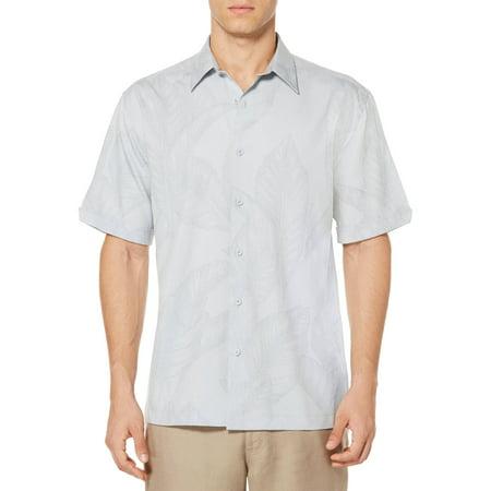 Cafe Luna Mens Big All Over Tropical Print Short Sleeve Sport Shirt