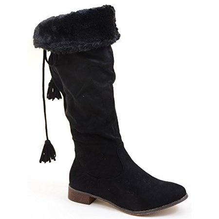 Back Lace Fur Fold Over Pirate Knee Boots Vegan Suede](Pirate Boot Covers)