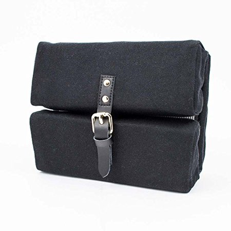- G.U.S TechAway Travel Roll - Cord, Cable, and Cell Phone or Tablet Storage Pouch. Multiple Colors Available, with Leather Strap & Buckle - Midnight Black