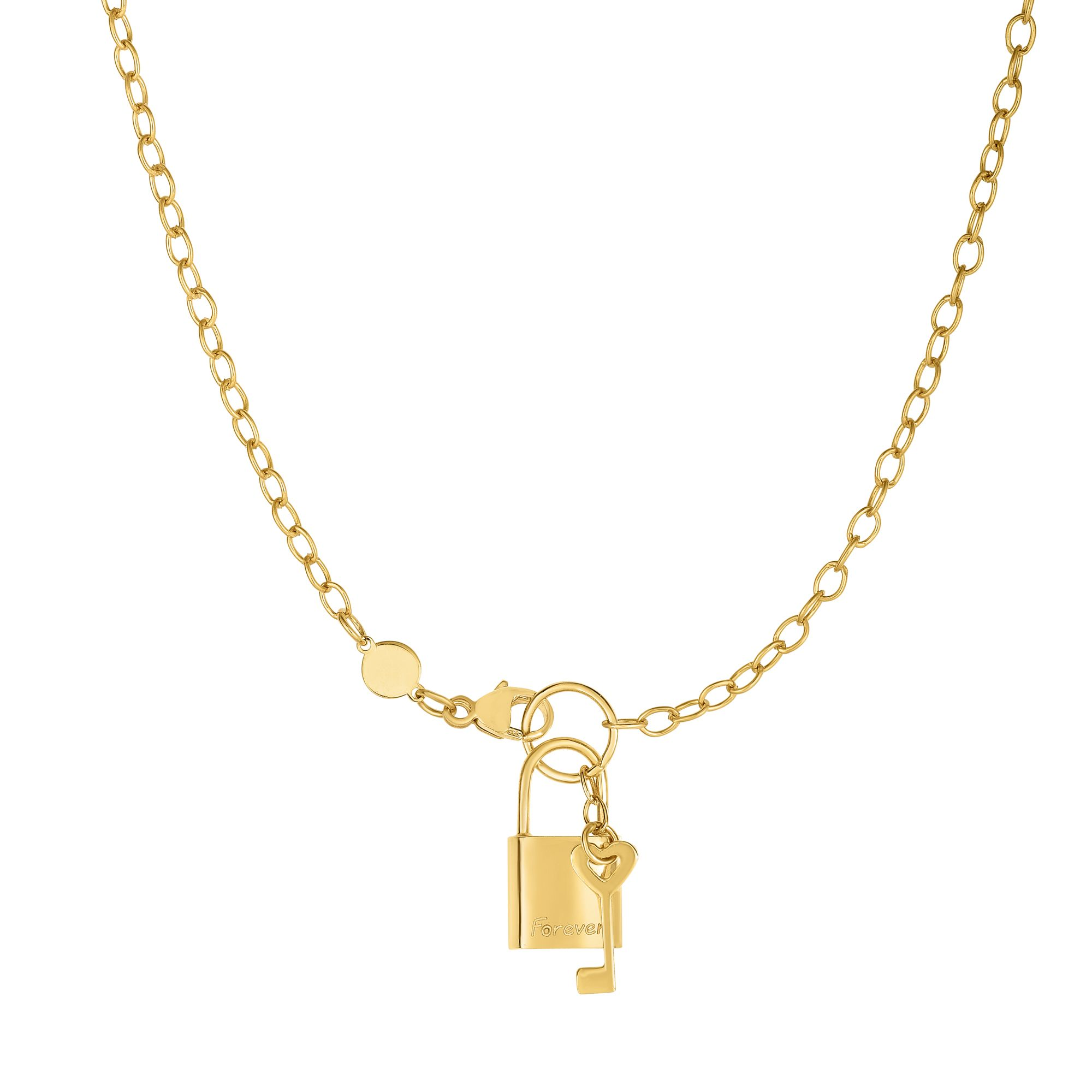 "14k Shiny Yellow Gold Forever Lock And Key Elements On Link Chain Necklace 18"" by JewelStop"
