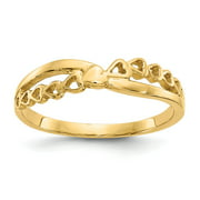 Real 14kt Yellow Gold Polished Criss Cross Pattern Hearts Ring S:7