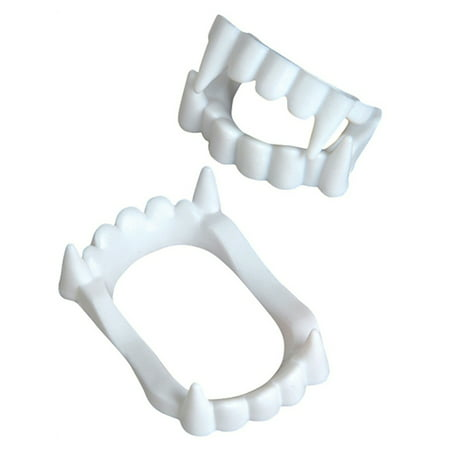 Set of 12 White Economy Plastic Costume Accessory Vampire Werewolf Fangs Teeth