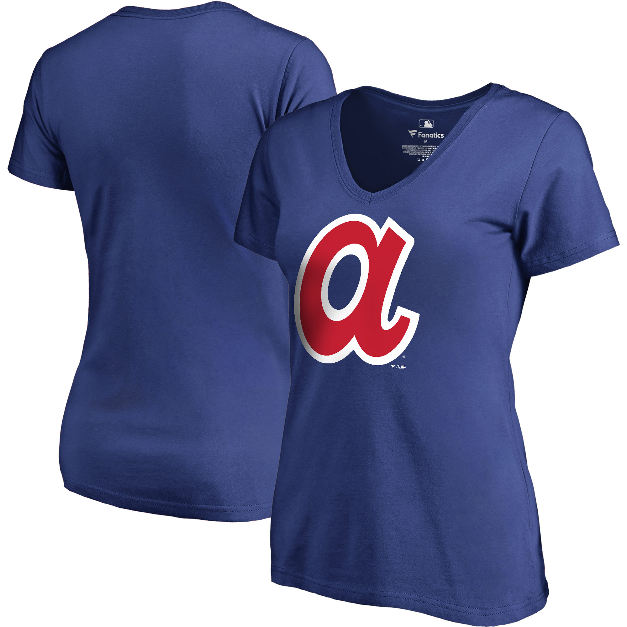 Atlanta Braves Fanatics Branded Women's Plus Size Cooperstown Collection Huntington V-Neck T-Shirt - Royal