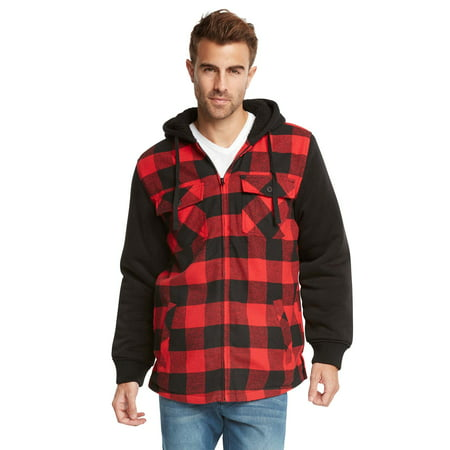 9 Crowns Essentials Sherpa Lined Plaid Flannel Hoodie Jacket (Black/red, Large) ()