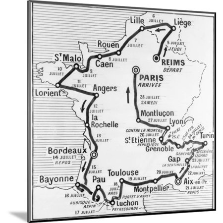 Tour De France Map - Map Showing Route of Tour De France Wood Mounted Print Wall Art