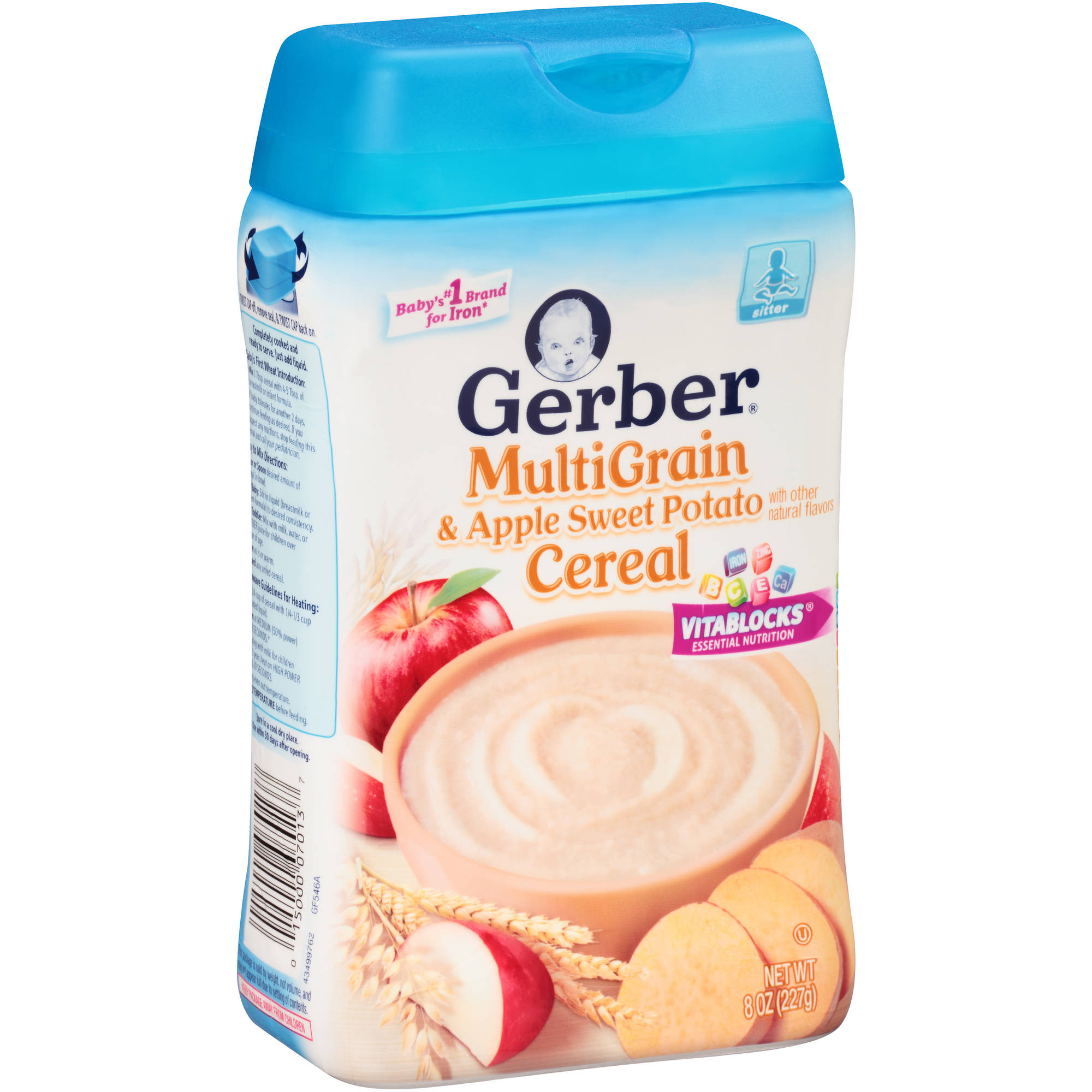 Gerber Multigrain Apple Sweet Potato Baby Cereal, 8 oz