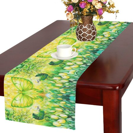 MYPOP Spring Landscape with Butterfly Flower Long Table Runner 16x72 incheses, Spring-time of New Life Joy Table Runner Cotton Cloth Placemat for Office Kitchen Dining Wedding Party Home Decor