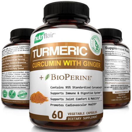 NutriFlair Turmeric Curcumin with Ginger & BioPerine Black Pepper - Best Vegan Joint Pain Relief & Support Turmeric Capsules - High Potency Anti-Aging, Antioxidant, Non GMO, 60