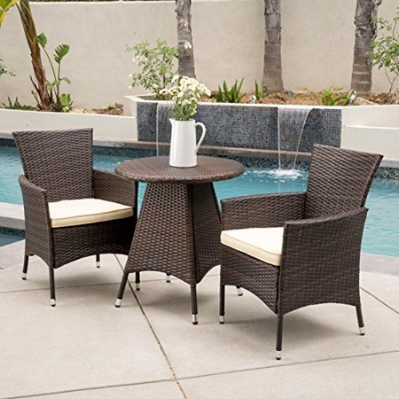 a605550eec Melissa Outdoor 3-piece Wicker Bistro Set with Cushions by Christopher  Knight Home - Walmart.com