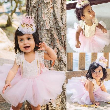 Newborn Baby Girls Lace Floral Romper+Tutu Skirts Dress 2pcs Outfits Set Clothes