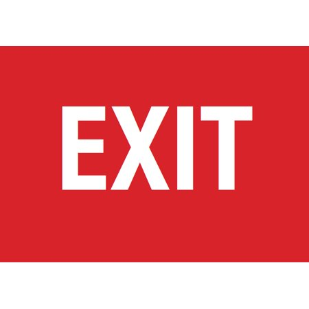 Exit Red Sign - Retail Door Signage Business Directional Signs - Aluminum Metal - Multi Directional Fibers