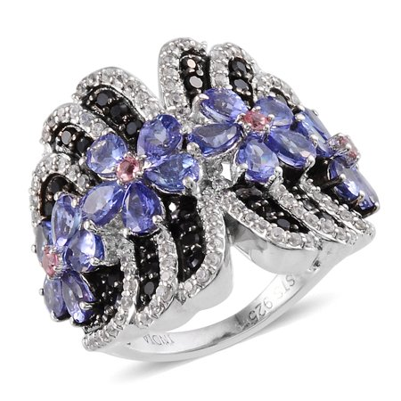 925 Sterling Silver Pear Tanzanite Black Spinel Pink Tourmaline Anniversary Ring for Women Cttw 3.8