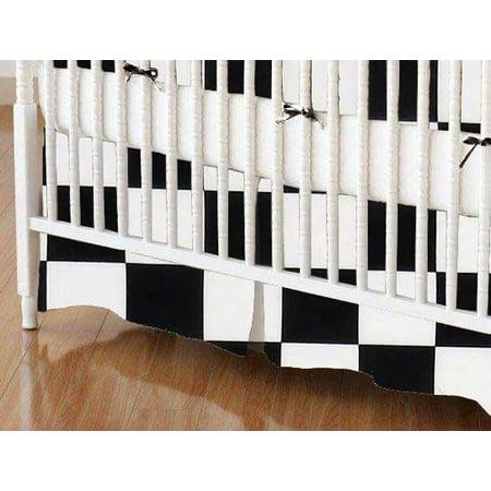 SheetWorld Crib Skirt - Black White Checkerboard