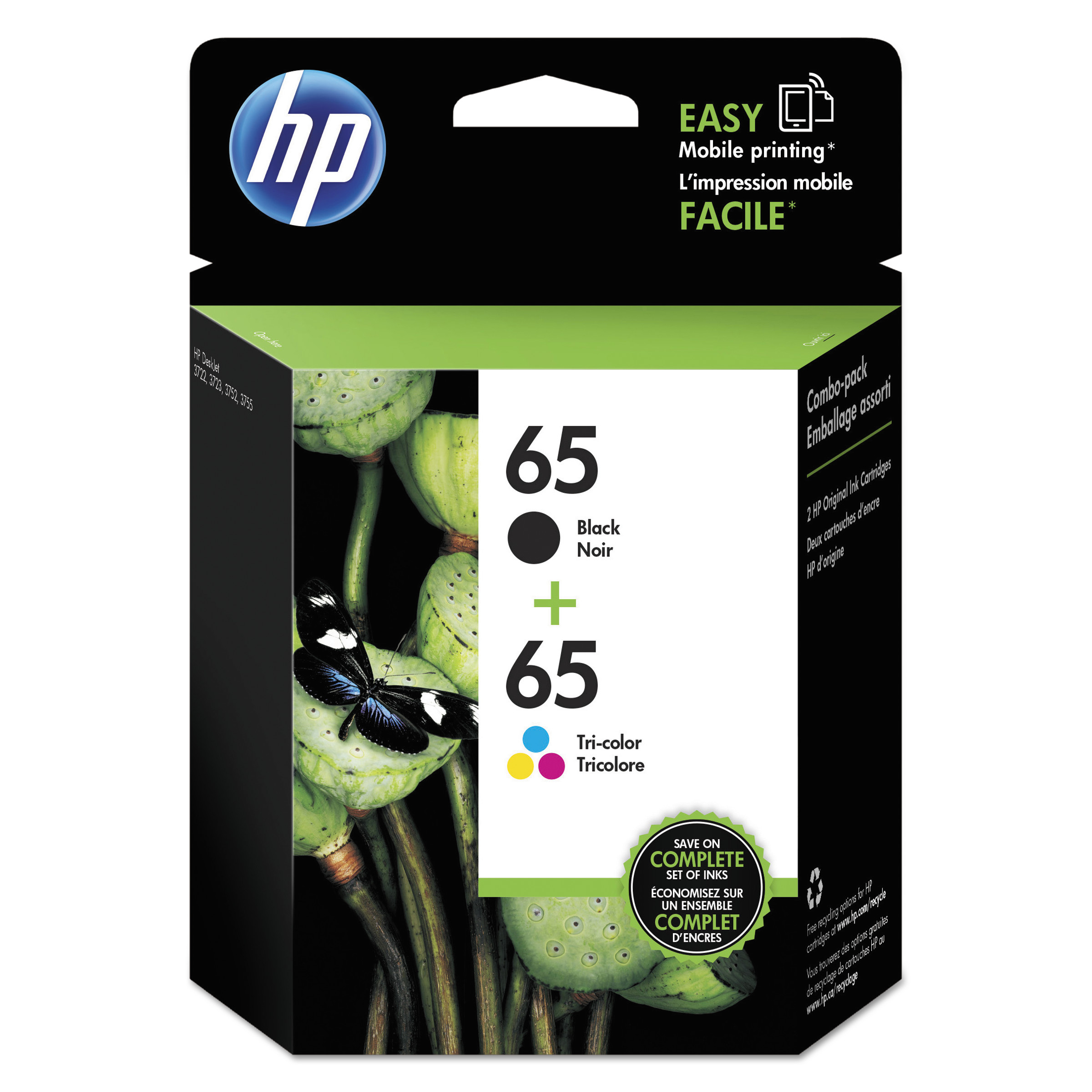 HP 65 Tri-color/Black Original Ink Cartridges, 2-Pack (T0A36AN)