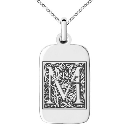 Small Charm Necklace (Stainless Steel Letter M Initial Floral Box Monogram Engraved Small Rectangle Dog Tag Charm Pendant)