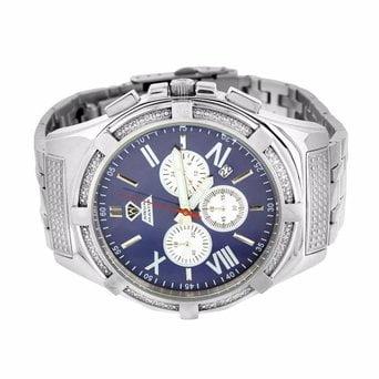Diamond Watches For Men White Gold Tone Stainless Steel Aqua Master Jojo Techno
