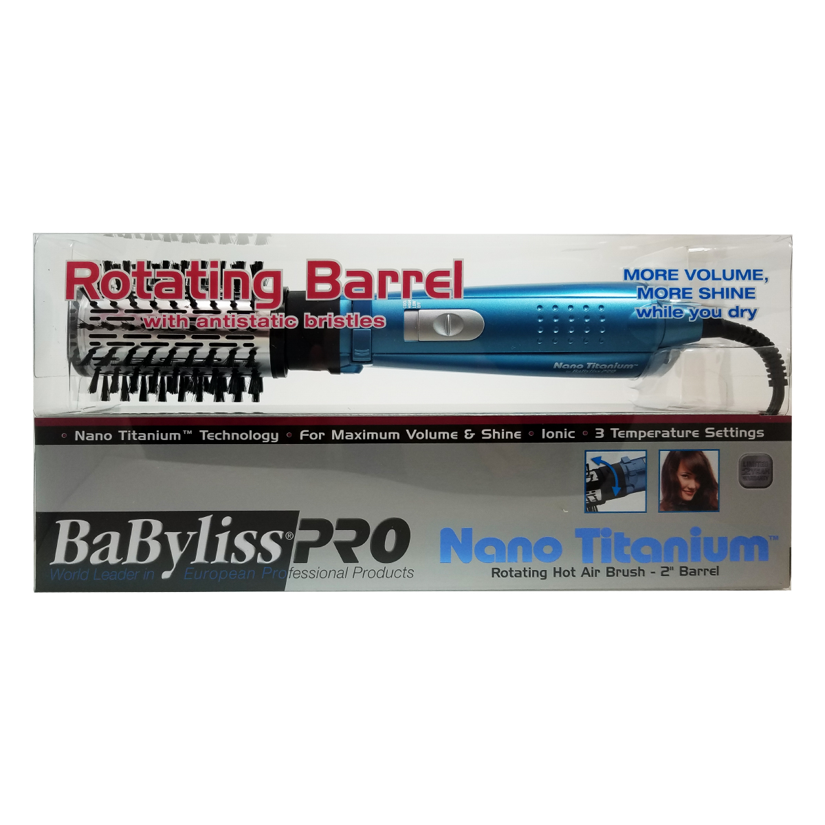 "Babyliss Pro nano titanium 2"" rotating hot air brush"