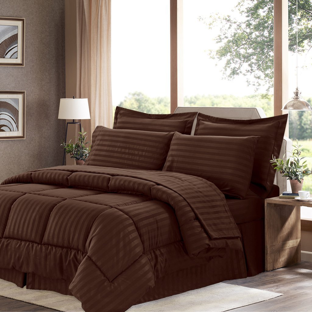 Sweet Home Collection 6 Piece Bed in a Bag with Dobby Stripe Comforter, Sheet Skirt, and Sham Set, Twin, Chocolate, 6